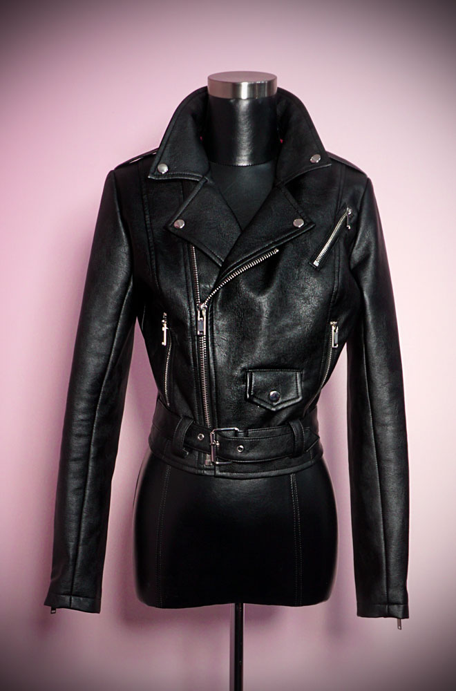 Bad Girl Vegan Cropped Motorcycle Jacket at Deadly is the Female, official UK stockists of Vixen by Micheline Pitt. This faux leather jacket is chic and edgy. It also looks good with just about everything!
