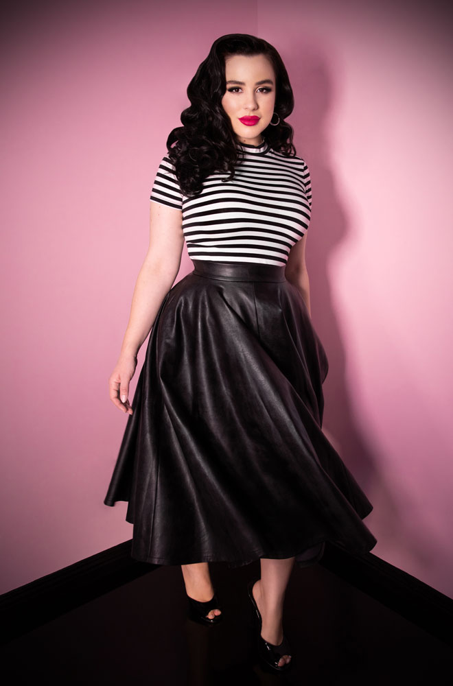 d Girl Vegan Circle Skirt at Deadly is the Female, official UK stockists of Vixen by Micheline Pitt. This faux leather circle skirt is a real show stopper.