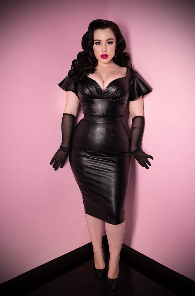 Bad Girl Vegan Pencil Skirt at Deadly is the Female, official UK stockists of Vixen by Micheline Pitt. This faux leather pencil skirt is a real show stopper.