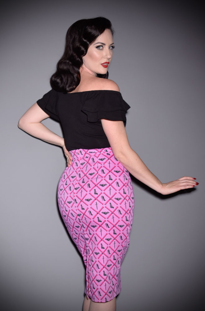 The Mean Girls Club Vixen Pencil Skirt at Deadly is the Female, UK stockists of Vixen by Micheline Pitt. Flaunt killer curves with this bad girl essential!