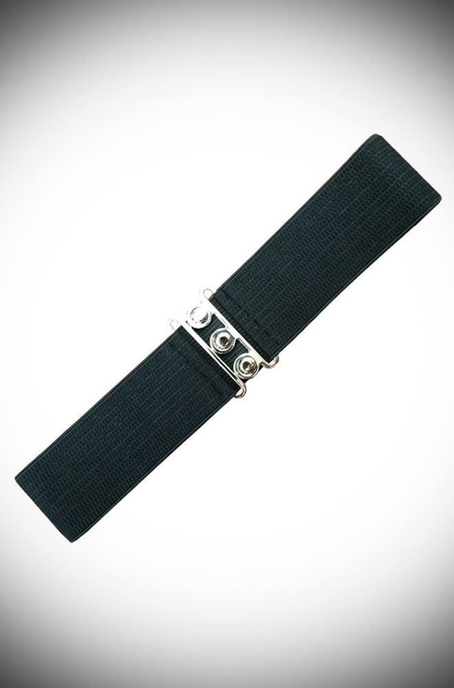 Flawlessly tie together any retro look with the Black Vintage Stretch Belt. Elasticated for comfort & a great fit. The buckle is silver coloured & can be worn at the front or back.