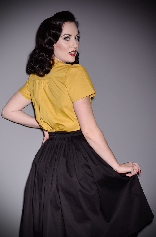 The Mustard Work Blouse is the perfect 1940's inspired work blouse. Perfect paired with any of our vintage inspired denim!