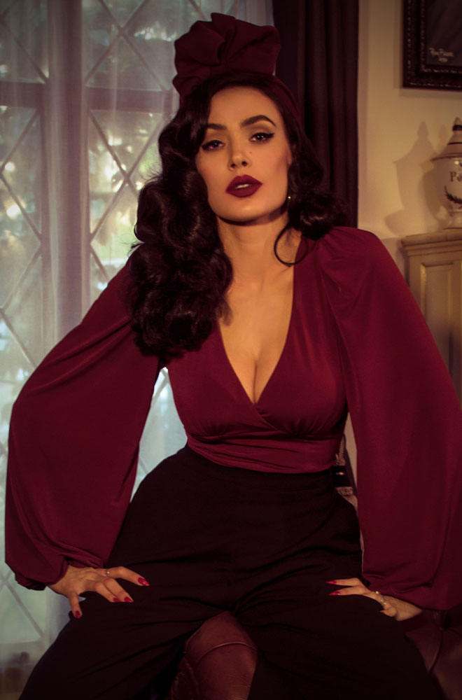 The Oxblood The Bishop Sleeve Blouse, designed for vamps who can't live without a little drama! Deadly is the Female are official UK & European stockists of La Femme En Noir. Specialising in dark & elegant designs for the glamorously gothic. With a cult following & new collections each season, you'll soon see what all the fuss is about!