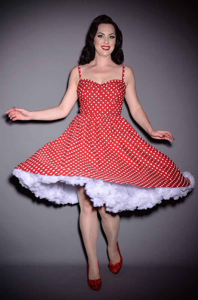 Red Polka Dot Swing Dress by Stop Staring perfect for the Summer Time. We are official UK stockists of this 50's style Red and White spotted dress.