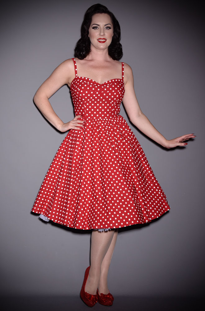 afffa794036 Red Polka Dot Swing Dress by Stop Staring perfect for the Summer Time. We  are