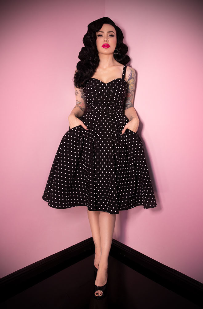 The Black Polka Dot Maneater Swing Dress is a real bombshell! Deadly is the Female are European stockists of Vixen by Micheline Pitt.