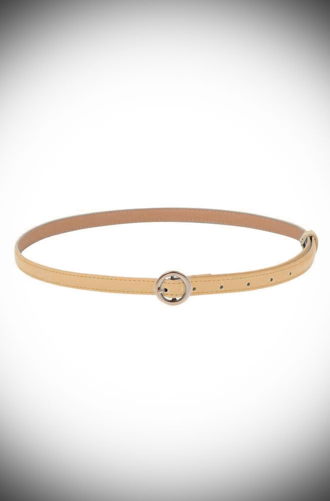 Flawlessly tie together any retro look with the adorable Tan Round Buckle Skinny Belt. Featuring an oh-so pretty golden buckle, this patent faux leather belt is just darling.