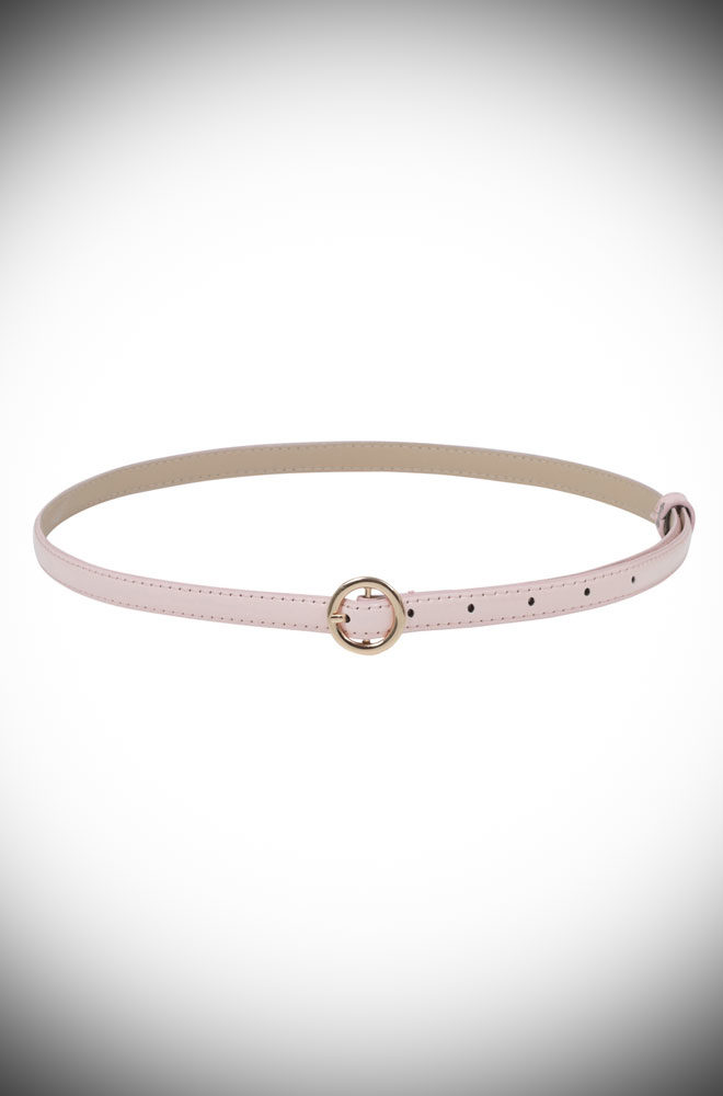 Flawlessly tie together any retro look with the adorable Pink Round Buckle Skinny Belt. Featuring an oh-so pretty golden buckle, this patent faux leather belt is just darling.