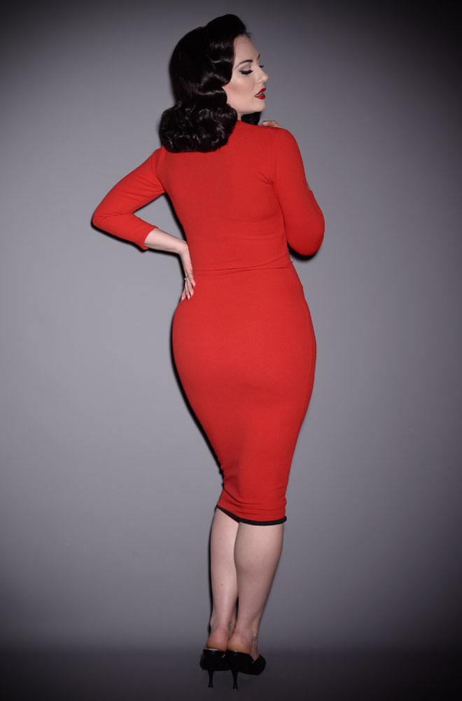 The Red Deadly Dress is an iconic stretch crepe wiggle dress. A signature piece from the Alexandra King for Deadly is the Female Collection.