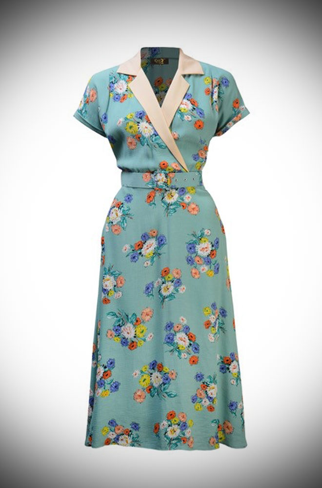 """The 40s Gracie Dress is real nod to wartime style. The shape is wearable and flattering while the """"Love Story"""" floral printed fabric is pretty and romantic."""