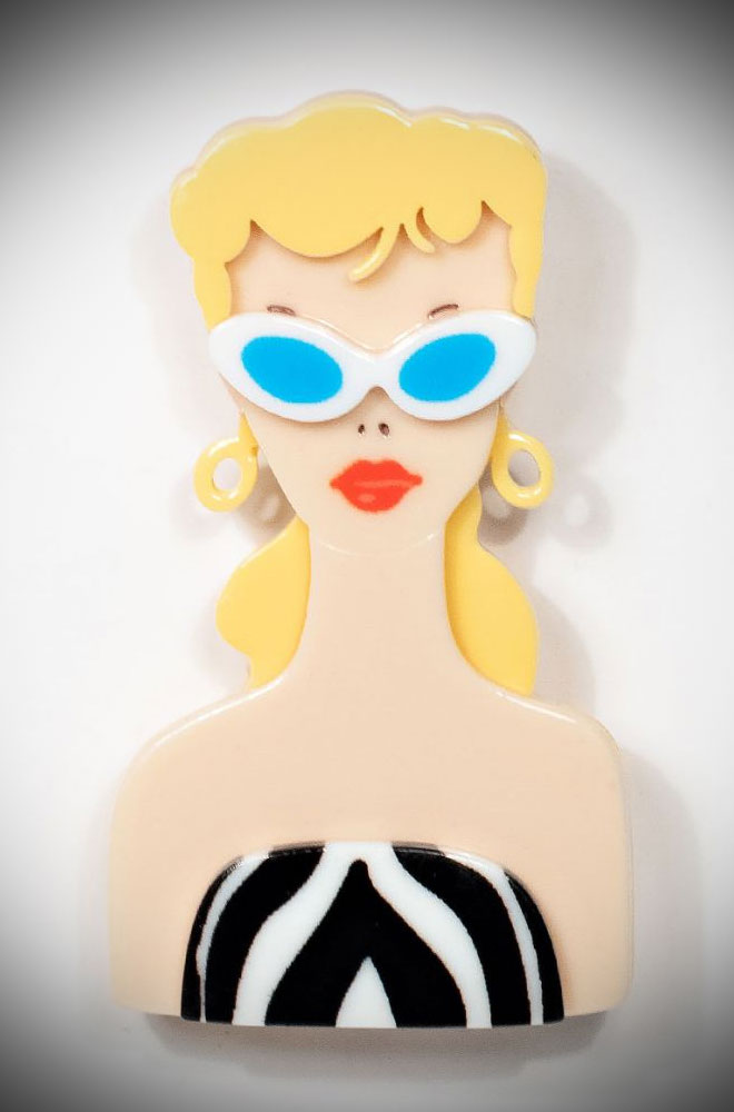 The Barbie Brooch is an adorable resin brooch featuring the icon's face. Deadly is the Female are official UK stockists of Unique Vintage.