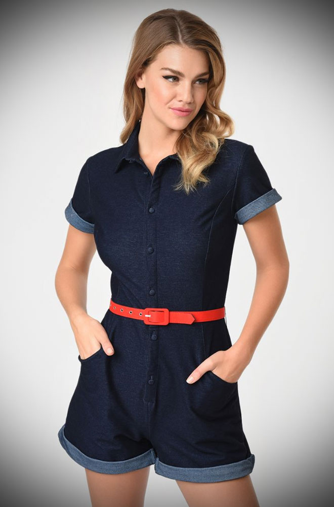 The Dixie Denim Romper is effortlessly cool! This playsuit will ensure you feel sassy is a flash! Deadly is the Female are UK stockists of Unique Vintage.