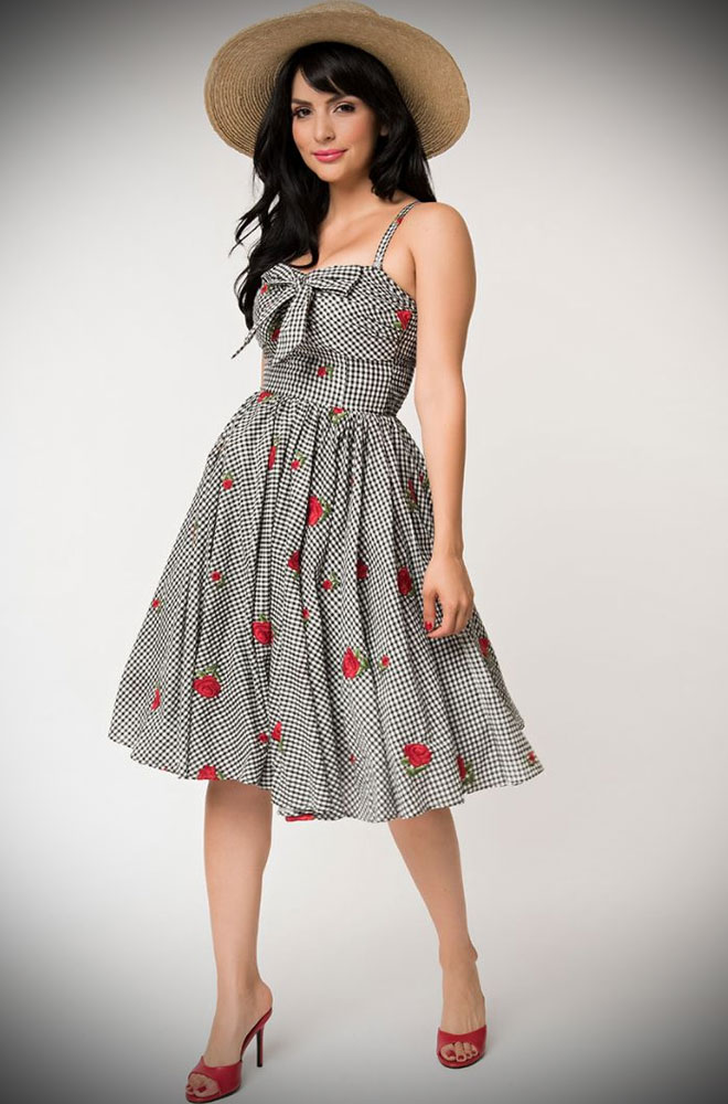 50s Gingham Golightly Swing Dress - a beautiful monochrome dress with a red rose print. Deadly is the Female are official stockists of Unique Vintage.
