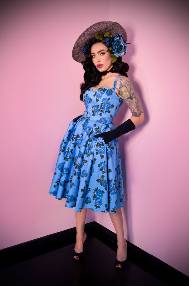 The Blue Roses Sweetheart Dress is a dreamy swing dress in a vintage rose print Deadly is the Female are official UK stockists of Vixen by Micheline Pitt.