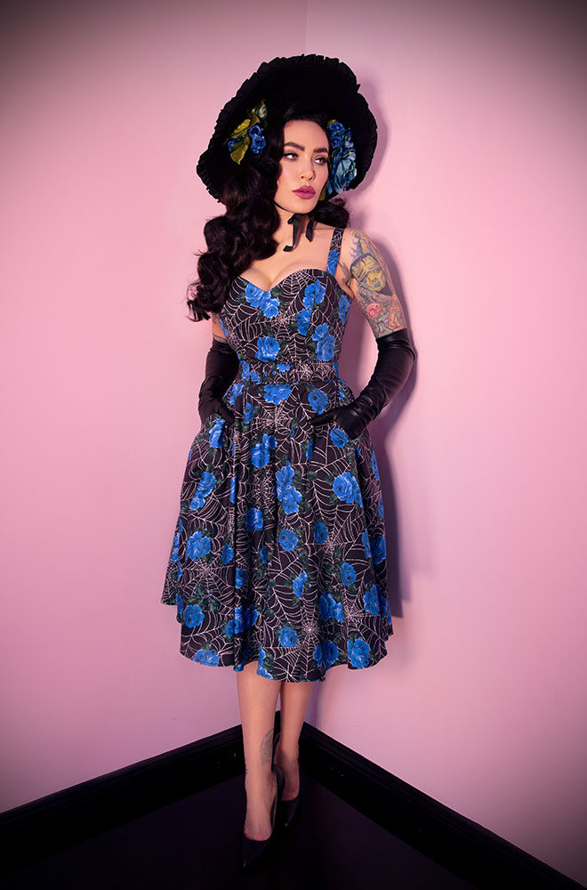 The Spider Web and Blue Roses Sweetheart Dress is a dreamy swing dress. Deadly is the Female are official UK stockists of Vixen by Micheline Pitt.