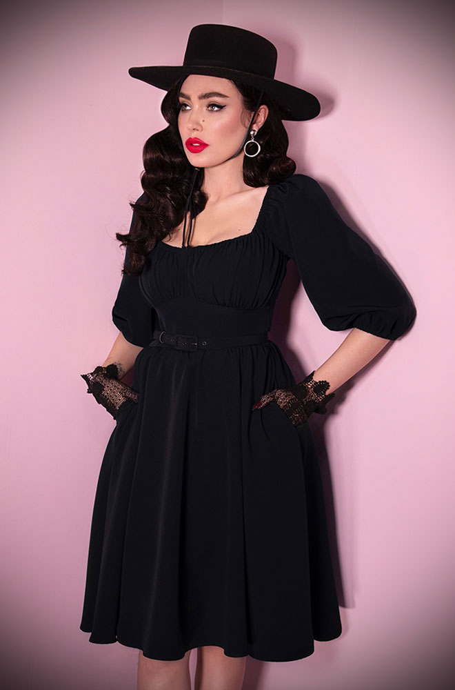 The Black Vacation Dress is a chic 60s inspired, wrinkle resistant dress. Deadly is the Female are European stockists of Vixen by Micheline Pitt.