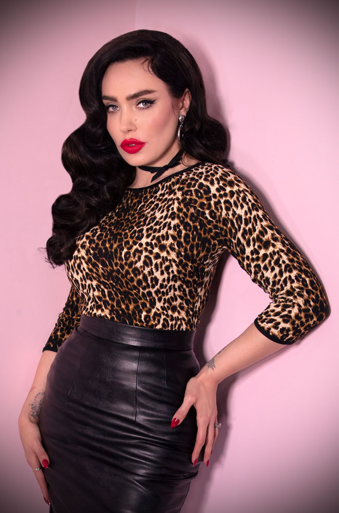Vintage Leopard Print Wild Ways Top - a vintage inspired boatneck top for the modern Bad Girl! Deadly is the Female are UK Stockists of Vixen by Micheline Pitt.