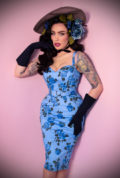 The Blue Roses Sweetheart Wiggle Dress is a sassy dress in a vintage rose print Deadly is the Female are official UK stockists of Vixen by Micheline Pitt.