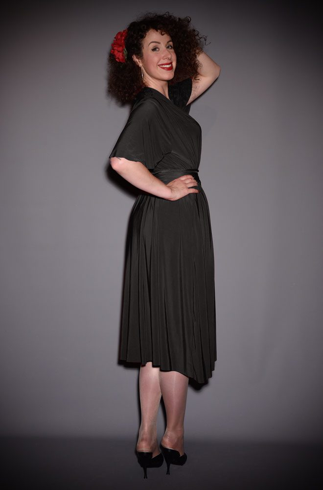 Black Flutter Sleeve Claudia Dress - a draped jersey dress with sash waist. A signature piece for the Alexandra King for Deadly is the Female Collection.