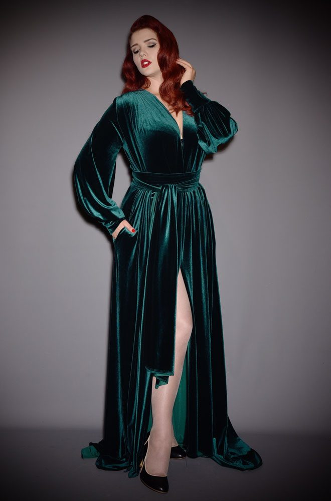 Green Velvet Claudia Gown - a draped jersey evening dress with sash waist & bishop sleeves. A signature piece by Alexandra King for Deadly is the Female.