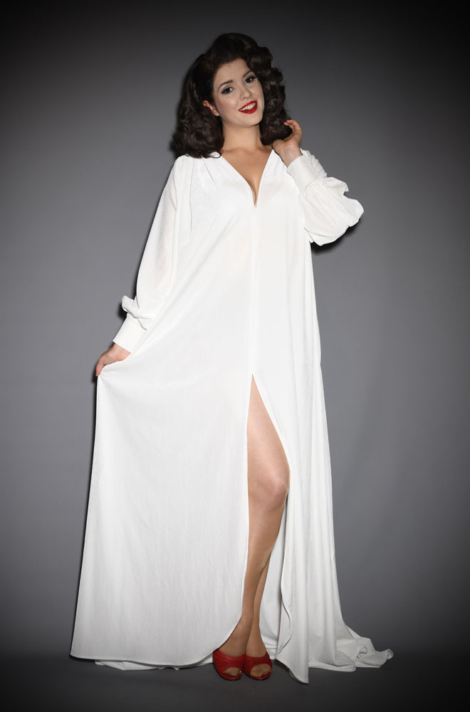 Ivory Velvet Claudia Gown - a draped jersey evening dress with sash waist & bishop sleeves. A signature piece by Alexandra King for Deadly is the Female.