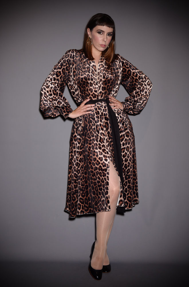 The Leopard Velvet Claudia Dress is a draped stretch velvet dress with black sash waist & bishop sleeves by Alexandra King for Deadly is the Female.