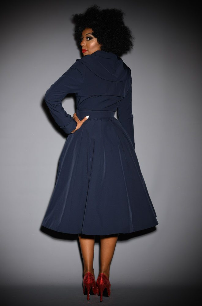 The Myriam-Lee Water Resistant Swing Coat is a stunning 1950's navy trench coat. Deadly is the Female are Miss Candyfloss UK stockists.