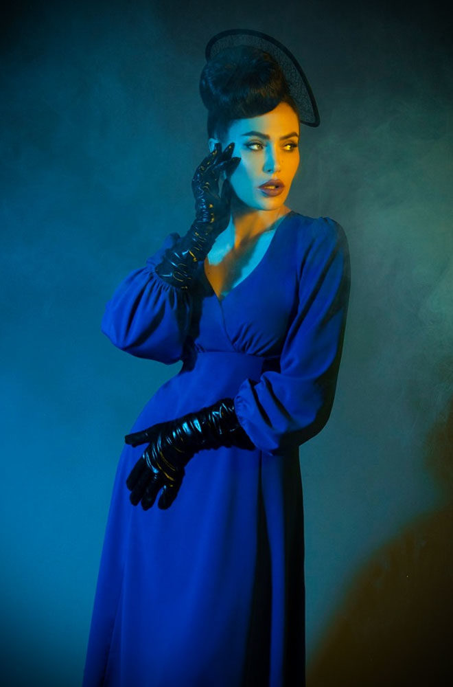 1950s style royal blue Pris Dress. Deadly is the Female are official stockists of the Micheline Pitt for Unique Vintage collection.