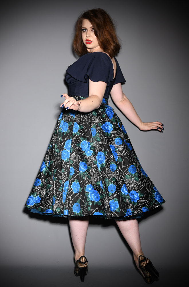 Blue Spider Web Circle Skirt at Deadly is the Female, official UK stockists of Vixen by Micheline Pitt. Good things for bad girls.