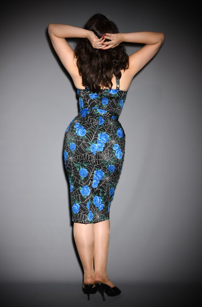 The Spider Web and Blue Roses Sweetheart Wiggle Dress is a sassy dress. Deadly is the Female are official UK stockists of Vixen by Micheline Pitt.