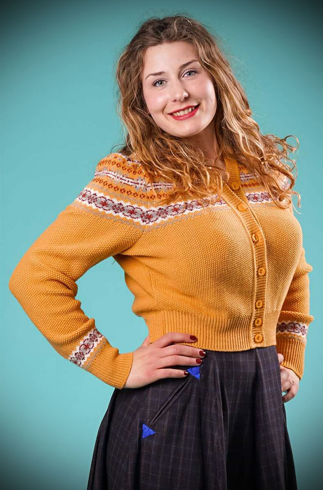 This Mustard 40's Fair Isle Cardigan is a beautiful wardrobe essential. DeadlyistheFemale.com are official UK stockists of Emmy Design Sweden.