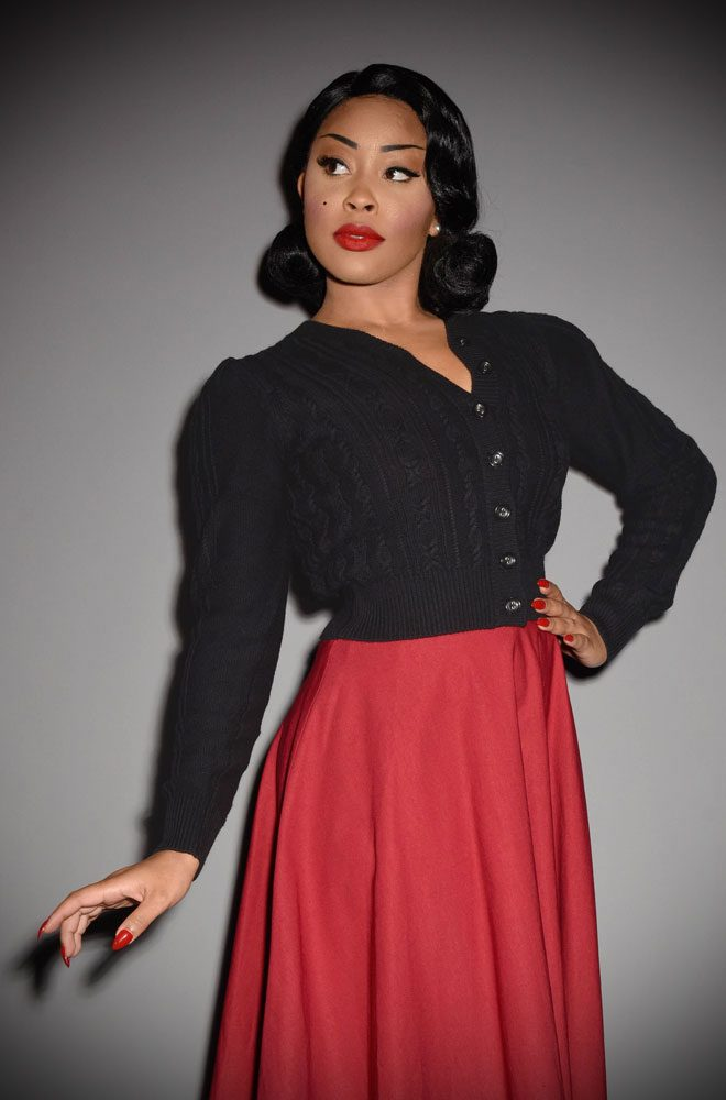 This 40's Black melange Ice Skater Cardigan is a beautiful wardrobe essential. DeadlyistheFemale.com are official UK stockists of Emmy Design Sweden.
