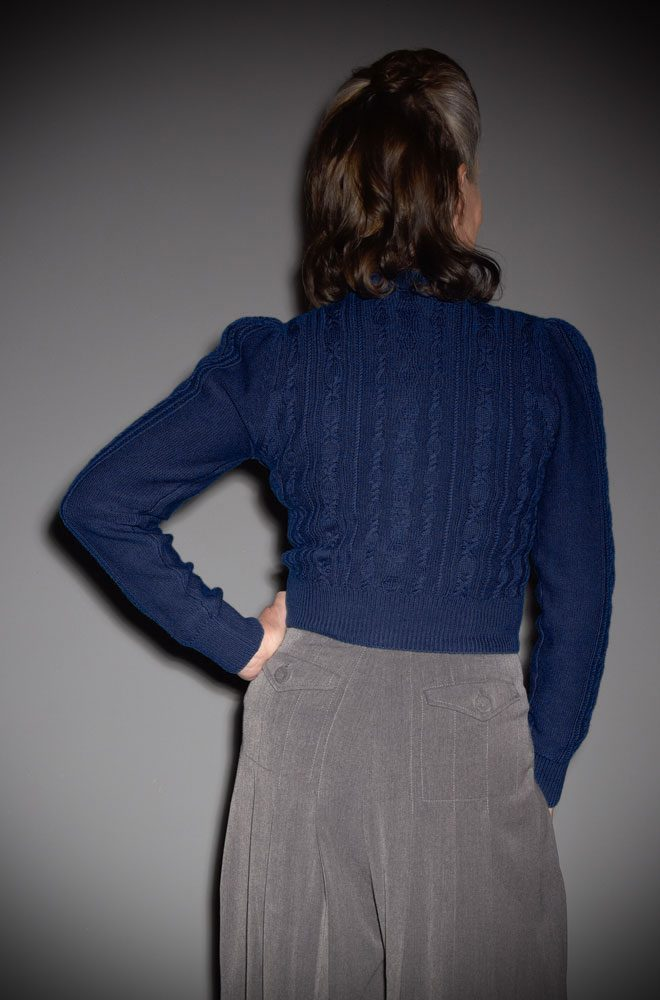 This 40's Navy Ice Skater Cardigan is a beautiful wardrobe essential. DeadlyistheFemale.com are official UK stockists of Emmy Design Sweden.