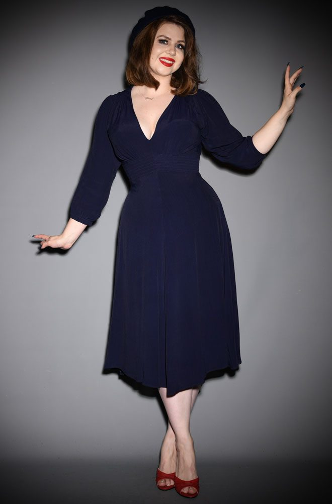 Navy Vera Dress - Elegant, understated and surprisingly sultry, this 30s style dress will help you feel glamorous day or night.