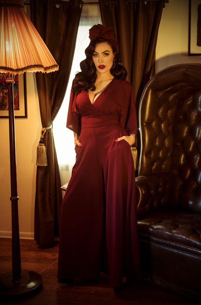 The Oxblood Black Widow Palazzo Pants are elegant wide leg trousers. Deadly is the Female are official UK & European stockists of La Femme En Noir.