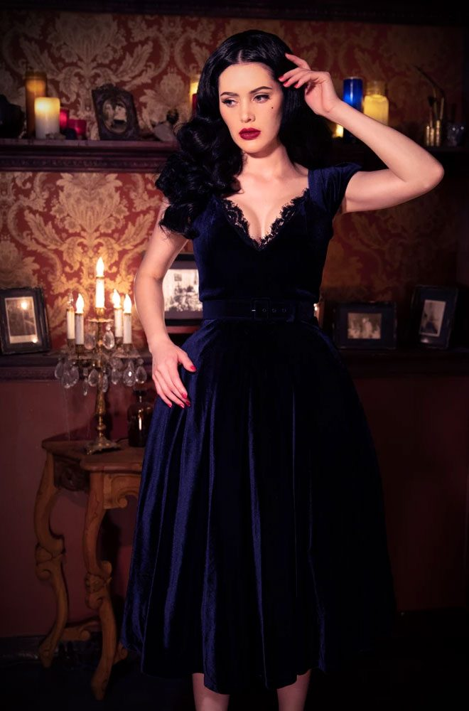 The Baudelaire Swing Dress is a bombshell of a dress in midnight velvet with lace trim. Deadly is the Female - UK & European stockists of La Femme En Noir