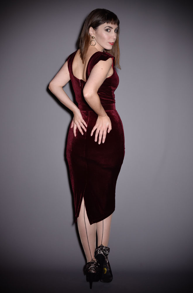 The Baudelaire Wiggle Dress is a bombshell of a dress in oxblood velvet with lace trim. Deadly is the Female - UK & European stockists of La Femme En Noir