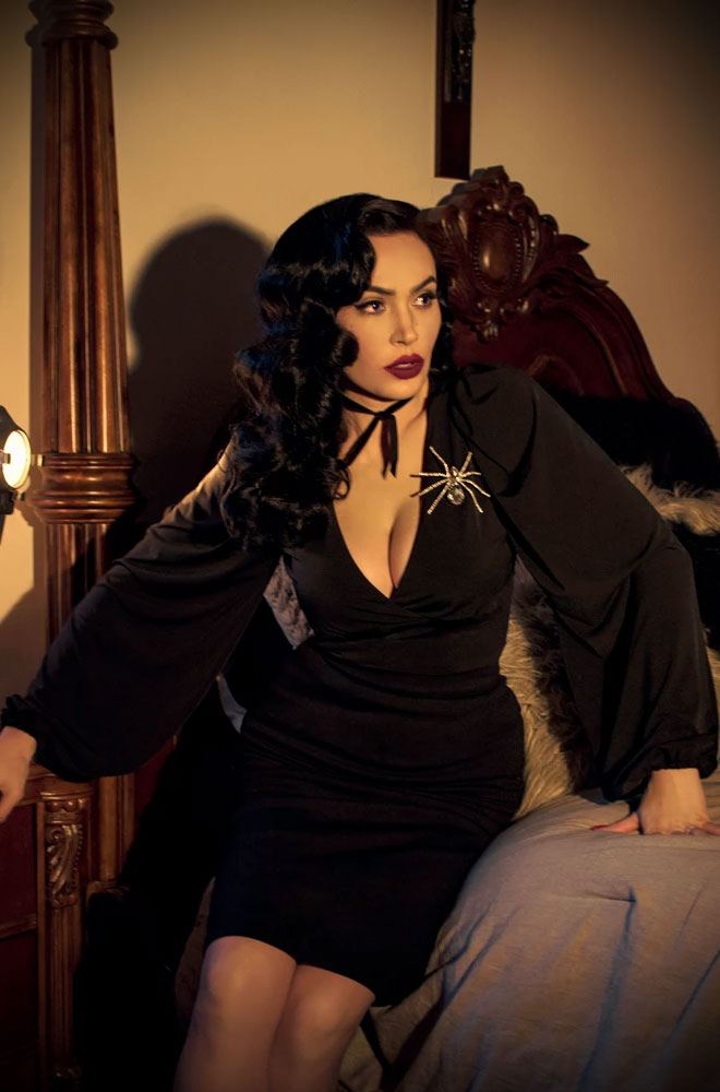 Black Bishop Sleeve Blouse, for vamps who can't live without a little drama! Deadly is the Female are official UK & European La Femme En Noir stockists