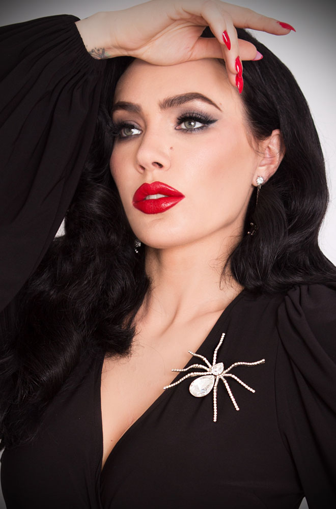 The Black Widow Rhinestone Spider Brooch from La Femme En Noir is a stunning statement piece of costume jewellery. Deadly is the Female are thrilled to be UK and European stockists of the cult label La Femme En Noir by Micheline Pitt and Lyna Haaga.