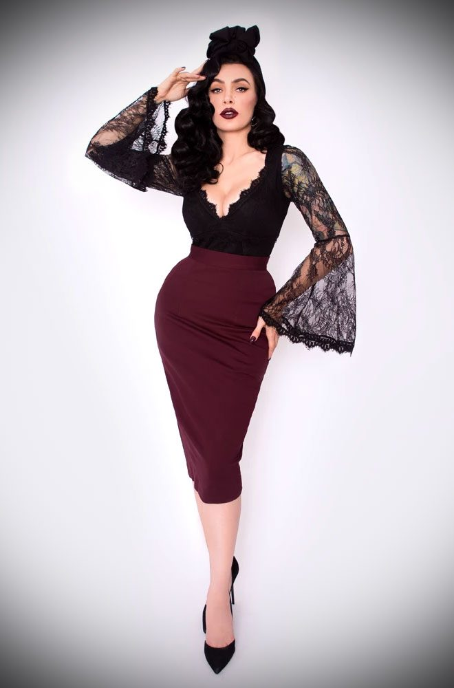 Oxblood Vamp Pencil Skirt, for femme fatales who can't live without a little drama! Deadly is the Female - official UK & European La Femme En Noir stockists