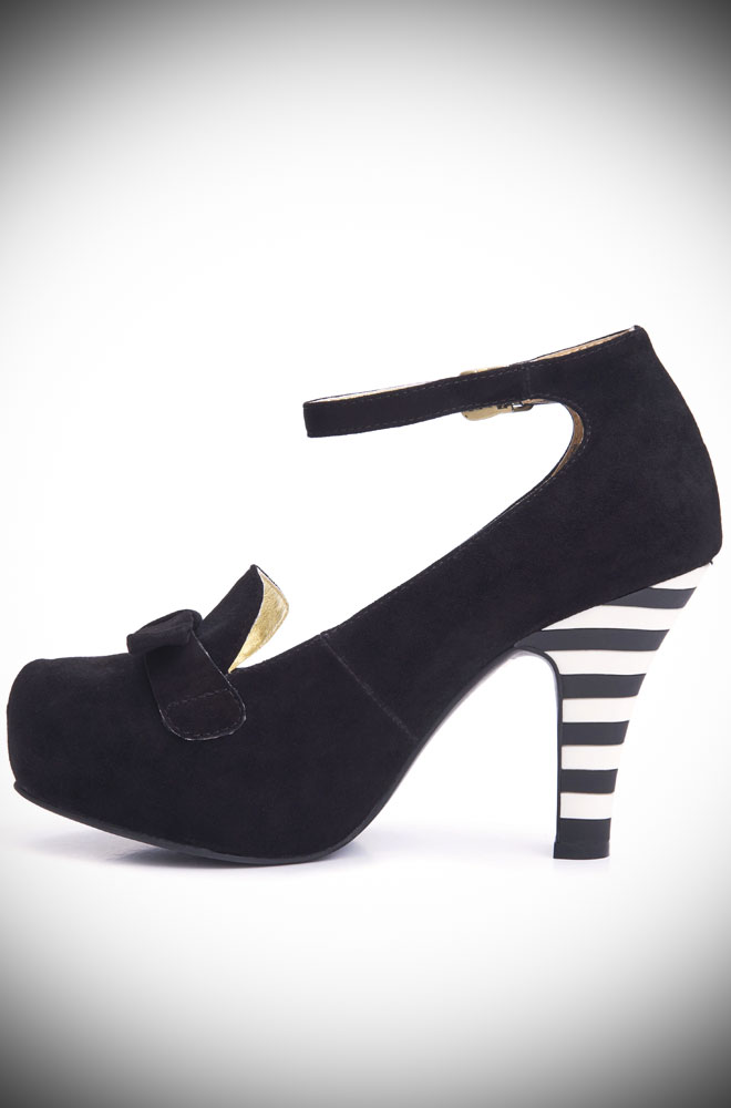 Black Angie Heels, beautiful black suede heels with a black and white striped heel. Deadly is the Female are UK stockists of Lola Ramona