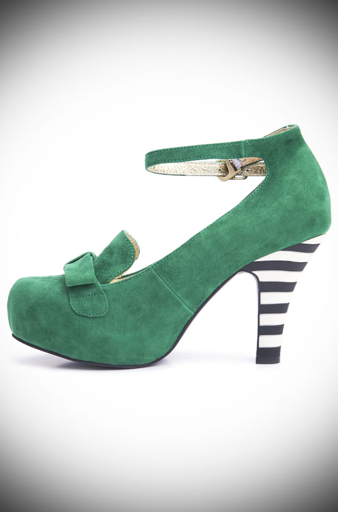 Green Angie Heels, beautiful green suede heels with a black and white striped heel. Deadly is the Female are UK stockists of Lola Ramona