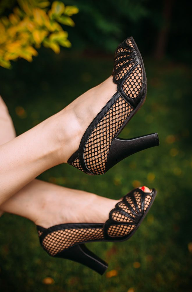 June Mesh Heels, beautiful black & champagne heels with all the vintage styling you could wish for! Deadly is the Female are UK stockists of Lola Ramona