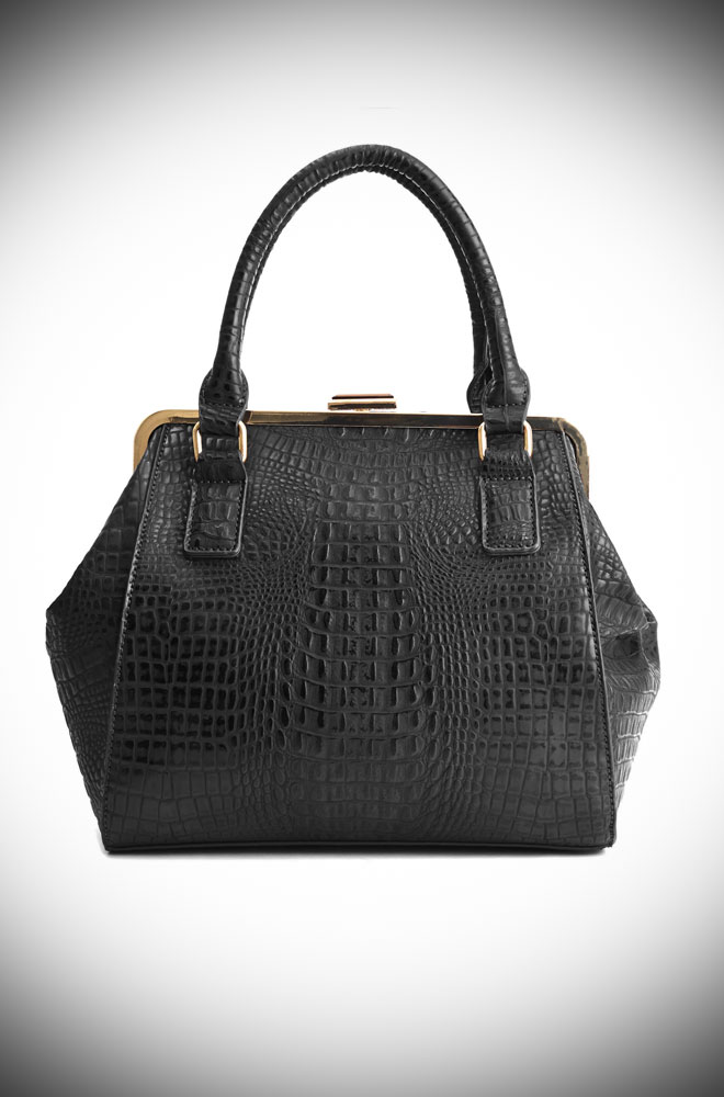 The Black Molly Handbag is classic and cool! The crocodile textured vegan leather is sassy and goes with just about everything.