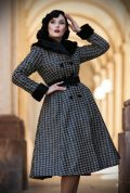 The Hazel Houndstooth Swing Coat is a stunning 1950's houndstooth coat with faux fur collar & cuffs. Deadly is the Female are Miss Candyfloss UK stockists.