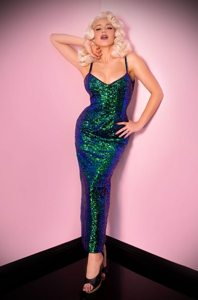 Green Sequins Glitz & Glamour Dress - inspired by 1950's Old Hollywood bombshells. Deadly are official UK stockists of Vixen by Micheline Pitt.