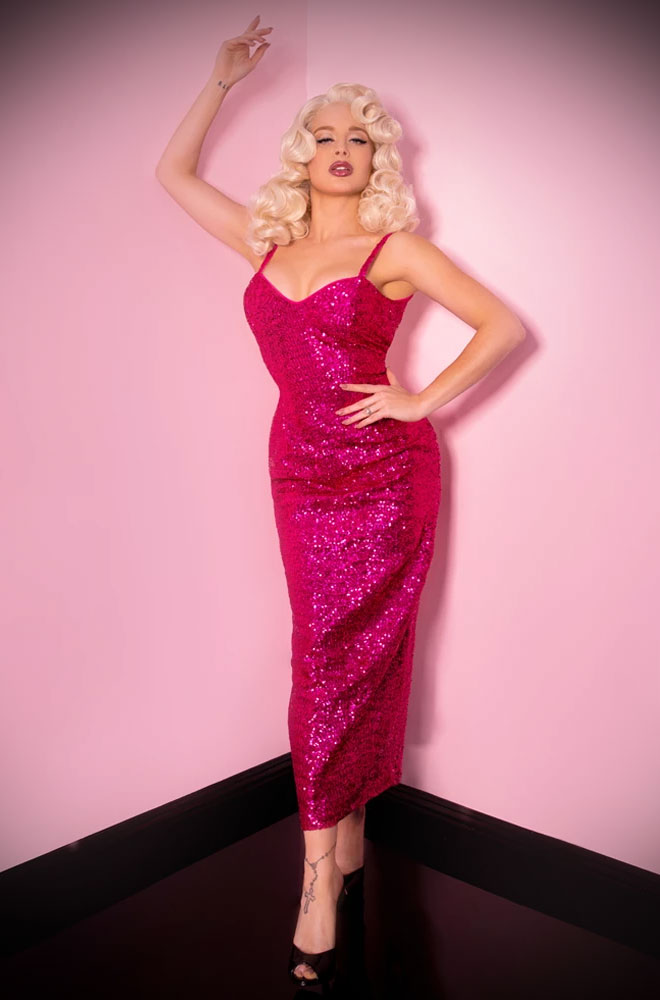Hot Pink Sequins Glitz & Glamour Dress - inspired by 1950's Old Hollywood bombshells. Deadly are official UK stockists of Vixen by Micheline Pitt.