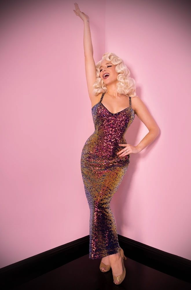 Scarab Sequins Glitz & Glamour Dress - inspired by 1950's Old Hollywood bombshells. Deadly are official UK stockists of Vixen by Micheline Pitt.