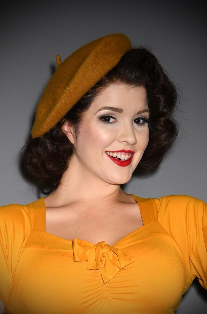 Mustard Film Noir Beret. The perfect go-to for a bad hair day but also a stylish finishing touch to any outfit. Availbale now at DeadlyistheFemale.com