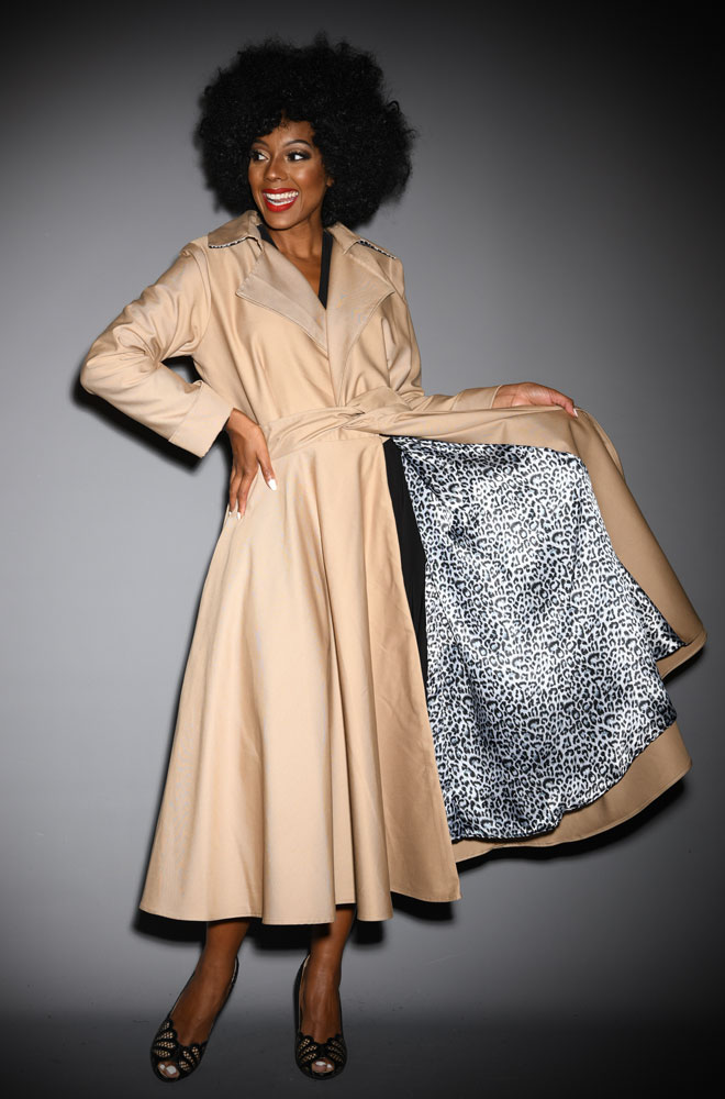 Camel Alexandra Trench Coat - 40s style coat, perfect for Femme Fatales. A signature piece for the Alexandra King for Deadly is the Female Collection.